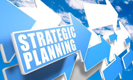 Strategic Planning - text concept with blue and white arrows flying in a blue sky with clouds - 3d render illustration