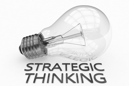 Strategic Thinking - lightbulb on white background with text under it. 3d render illustration.