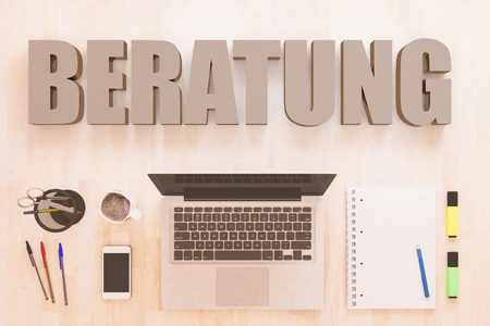 Beratung - german word for consulting - text concept with notebook computer, smartphone, notebook and pens on wooden desktop. 3D render illustration.