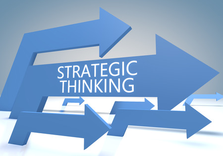Strategic Thinking - text concept with blue arrows on a bluegrey background - 3d render illustration