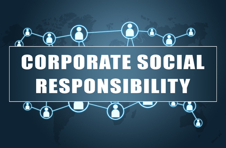 Corporate Social Responsibility - text concept on blue background with world map and social icons. Banco de Imagens
