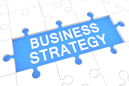 Business Strategy - puzzle 3d render illustration with word on blue background