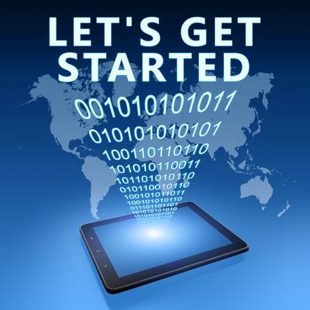 Lets get started - text with tablet computer on blue digital world map background. 3D Render Illustration. Stockfoto