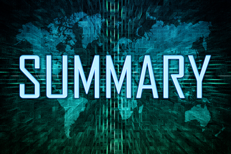 Summary text concept on green world map background. Stock Photo