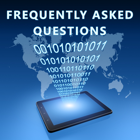 Frequently Asked Questions - text with tablet computer on blue digital world map background. 3D Render Illustration. Фото со стока