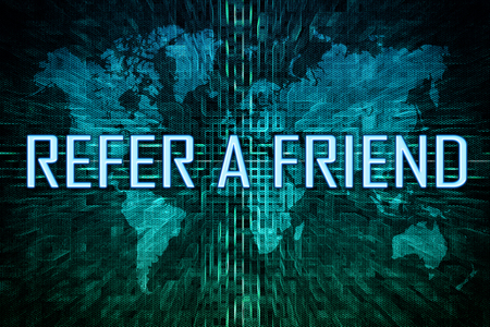 Refer a Friend text concept on green world map background. Stock Photo