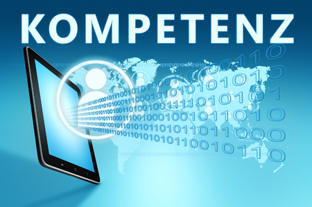 Kompetenz - german word for competence - text with social icons and tablet computer on blue digital world map background. 3D Render Illustration.