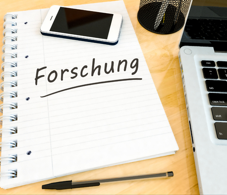 Forschung - german word for research - handwritten text in a notebook on a desk - 3d render illustration. Stock Photo