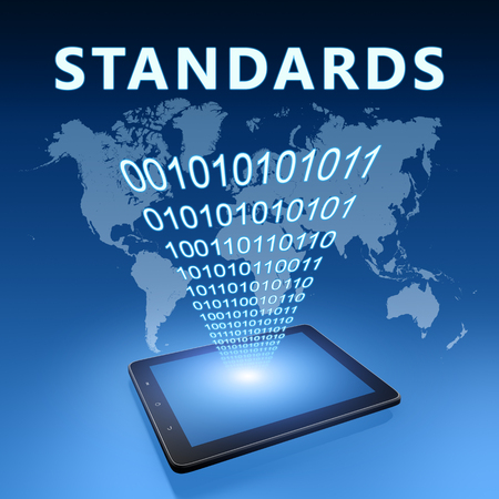 Standards - text with tablet computer on blue digital world map background. 3D Render Illustration.