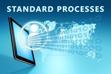 Standard Processes - text with social icons and tablet computer on blue digital world map background. 3D Render Illustration.