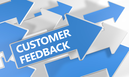 Customer Feedback text concept with blue and white arrows flying over a white background. 3D render illustration. Reklamní fotografie - 118832637