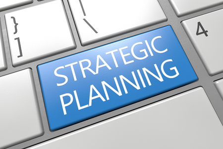 Strategic Planning - keyboard 3d render illustration text concept with word on blue key.