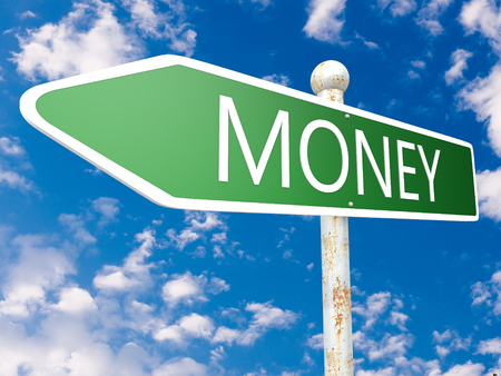 Money - street sign text concept illustration in front of blue sky with clouds. 3d Rendering 写真素材