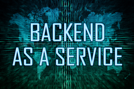 Backend as a Service text concept on green world map background. 写真素材