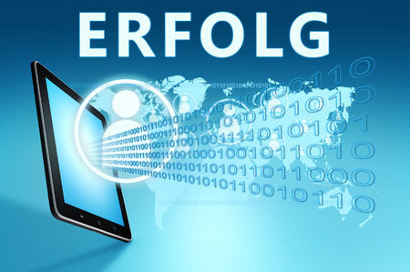 Erfolg - german word for success - text with social icons and tablet computer on blue digital world map background. 3D Render Illustration.