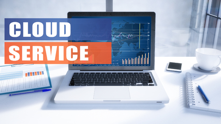 Cloud Service text on modern laptop screen in office environment. 3D render illustration business text concept.