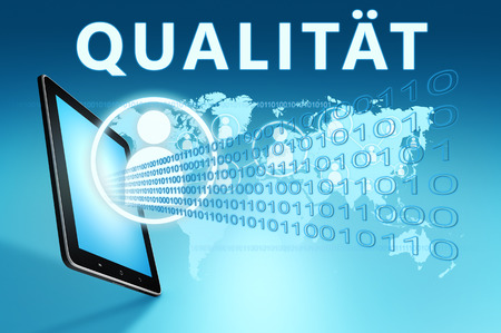 Qualitaet - german word for quality or grade - text with social icons and tablet computer on blue digital world map background. 3D Render Illustration.