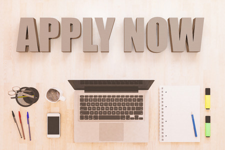 Apply now - text concept with notebook computer, smartphone, notebook and pens on wooden desktop. 3D render illustration. 写真素材