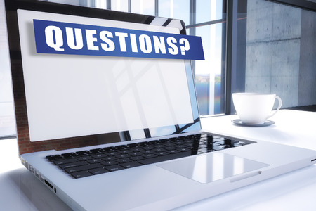 Questions text on modern laptop screen in office environment. 3D render illustration business text concept. Фото со стока