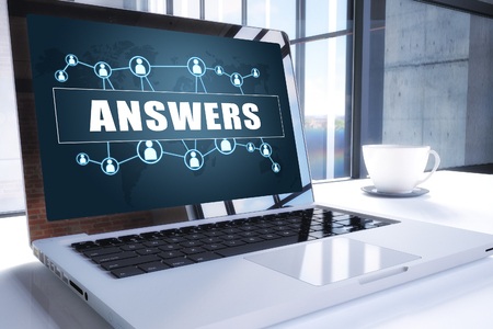 Answers text on modern laptop screen in office environment. 3D render illustration business text concept.