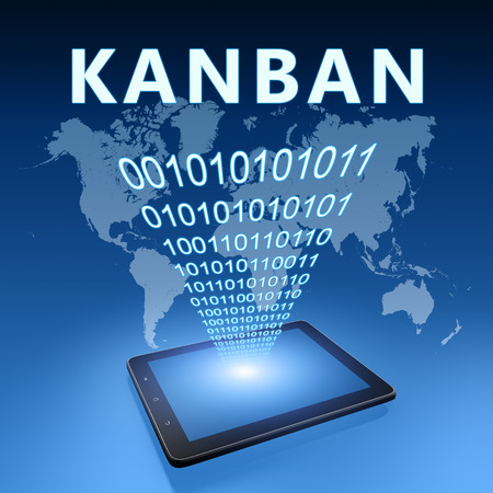 Kanban - scheduling system for lean manufacturing and just-in-time manufacturing - text with tablet computer on blue digital world map background. 3D Render Illustration. 写真素材