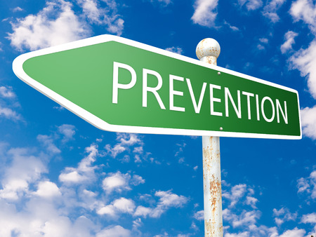 Prevention - street sign text concept illustration in front of blue sky with clouds. 3d Rendering