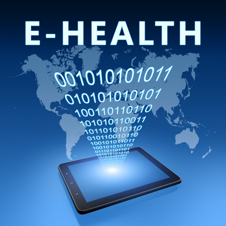 E-Health - text with tablet computer on blue digital world map background. 3D Render Illustration. 写真素材