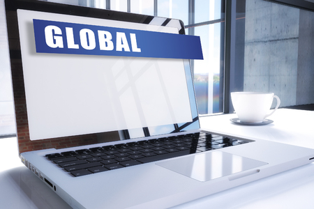 Global text on modern laptop screen in office environment. 3D render illustration business text concept.