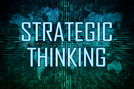 Strategic Thinking text concept on green world map background.