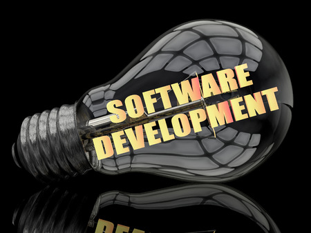 Software Development - lightbulb on black background with text in it. 3d render illustration. 写真素材