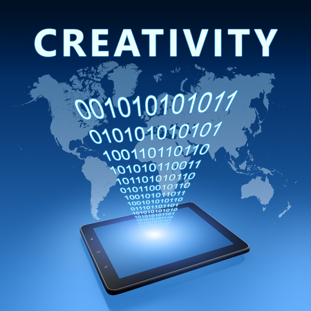 Creativity - text with tablet computer on blue digital world map background. 3D Render Illustration. 写真素材