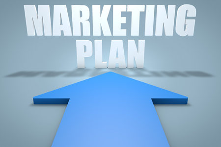 Marketing Plan - 3d render concept of blue arrow pointing to text.