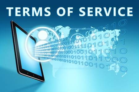 Terms of Service - text with social icons and tablet computer on blue digital world map background. 3D Render Illustration.