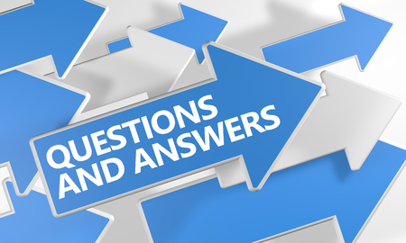 Questions and Answers text concept with blue and white arrows flying over a white background. 3D render illustration.