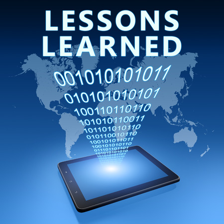 Lessons learned - text with tablet computer on blue digital world map background. 3D Render Illustration. Stock Photo