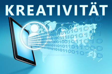Kreativitaet - german word for creativity - text with social icons and tablet computer on blue digital world map background. 3D Render Illustration.