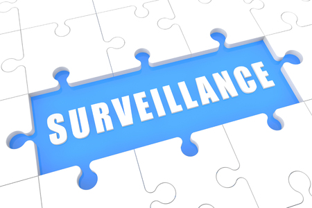 Surveillance - puzzle 3d render illustration with word on blue background 写真素材