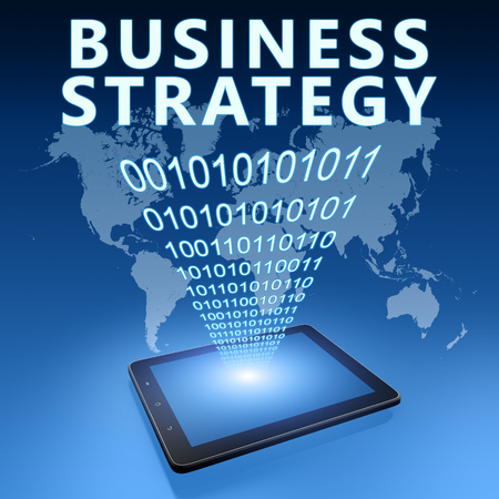 Business Strategy - text with tablet computer on blue digital world map background. 3D Render Illustration. 写真素材