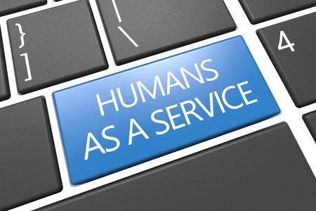 Humans as a Service - keyboard 3d render illustration text concept with word on blue key.