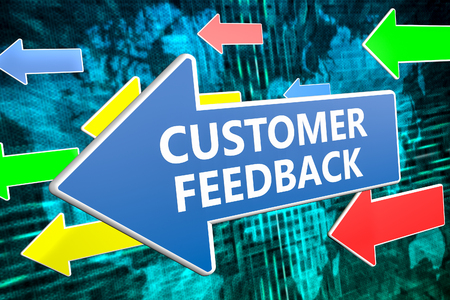 Customer Feedback - text concept on blue arrow flying over green world map background. 3D render illustration.