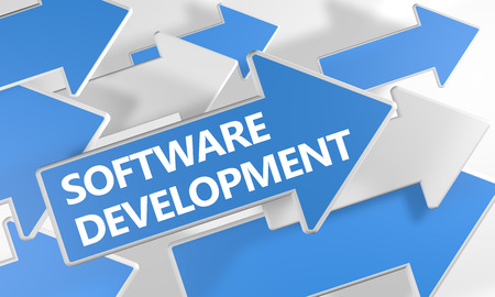 Software Development text concept with blue and white arrows flying over a white background. 3D render illustration. 写真素材