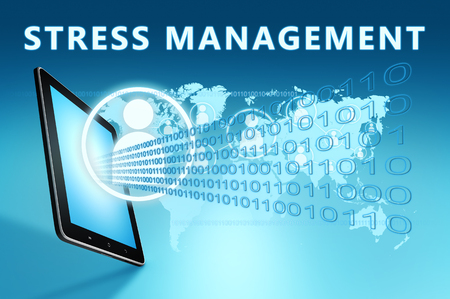 Stress Management - text with social icons and tablet computer on blue digital world map background. 3D Render Illustration. 写真素材