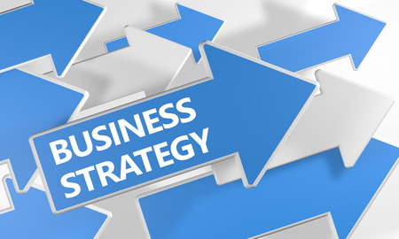 Business Strategy text concept with blue and white arrows flying over a white background. 3D render illustration. Stock Photo