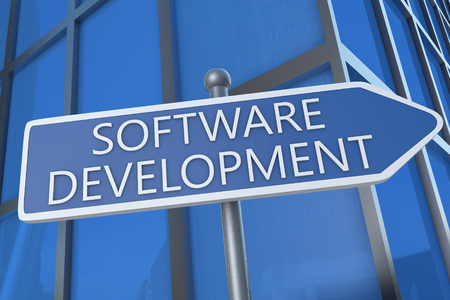 Software Development - 3d render text  illustration with street sign in front of office building. 写真素材