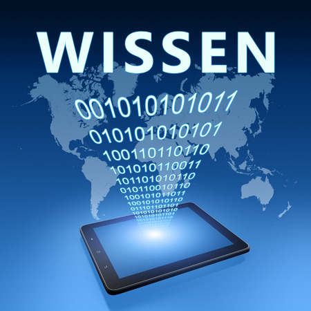 Wissen - german word for knowledge - text with tablet computer on blue digital world map background. 3D Render Illustration. 写真素材