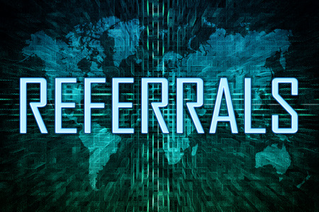 Referrals text concept on green world map background. 写真素材