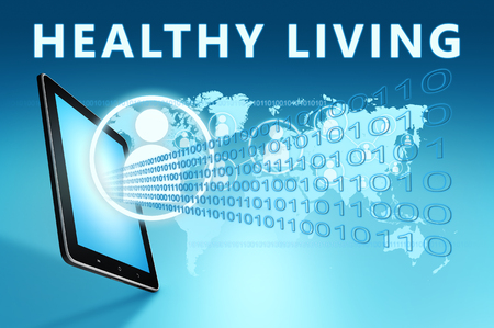 Healthy Living - text with social icons and tablet computer on blue digital world map background. 3D Render Illustration.