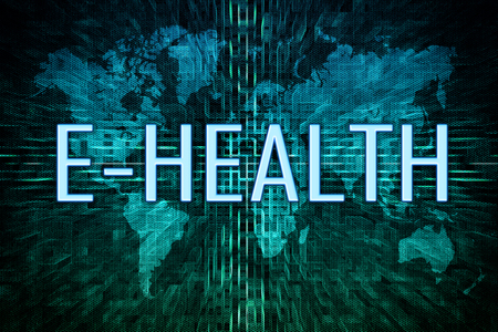 E-Health text concept on green world map background. 写真素材