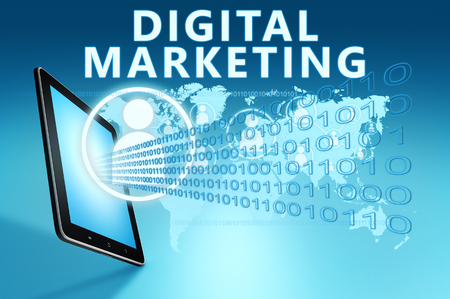 Digital Marketing - text with social icons and tablet computer on blue digital world map background. 3D Render Illustration.
