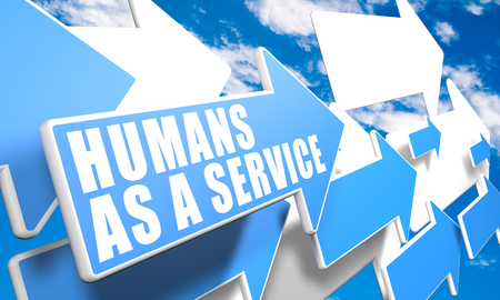 Humans as a Service - text concept with blue and white arrows flying in a blue sky with clouds - 3d render illustration
